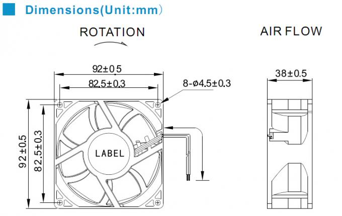 92mm high pressure dc brushless fan with 7 blade for