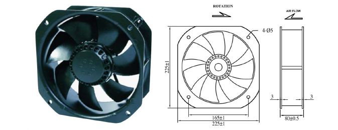 9 Inch Electronic Cooling Fans , Black 12V Cooling Fan 225mm X 225mm X 80mm