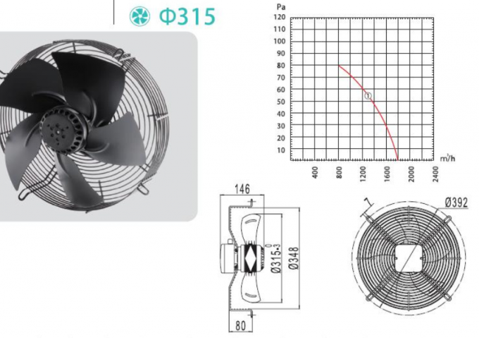 380V Aluminum Industrial Ventilation Motor Fan 315mm / Commercial Extractor Fans