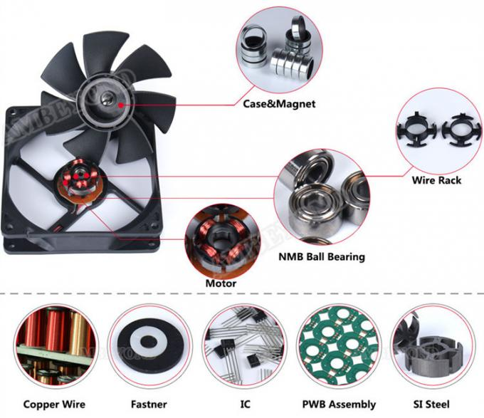 60mm Reversible Fan Equipment Cooling Fans With PWM FG RD Function