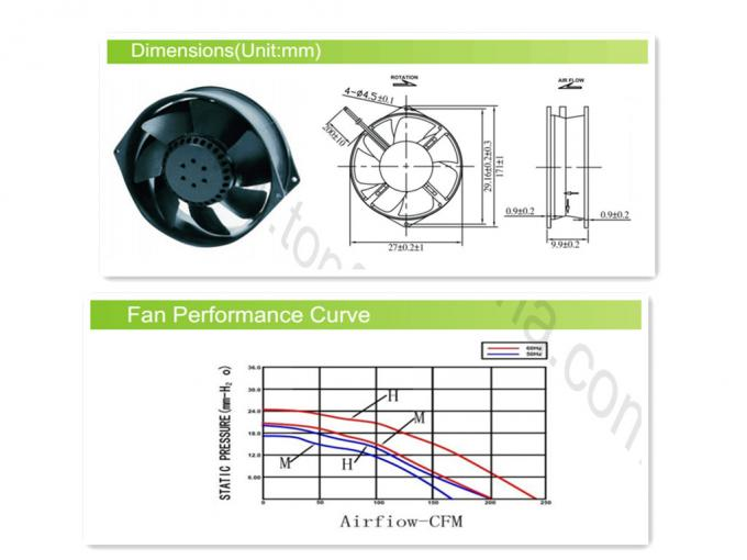 AC 170mm X 55mm Explosion Proof Exhaust Fan  Metal Large Flow Brushless Cooling Fans