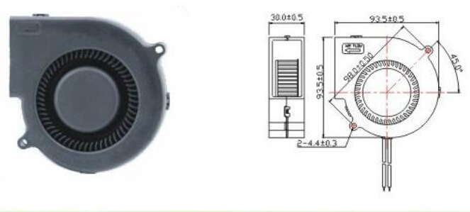 4000rpm Speed Electronics Cooling Fans , 12V/24V DC Blower Fan High Temperature
