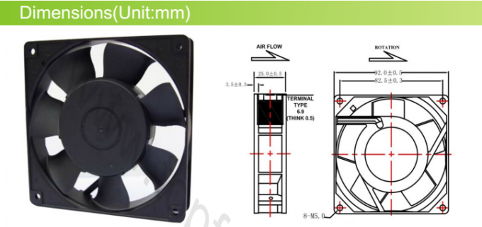 AC 9225 Explosion Proof Exhaust Fan / Metal High Speed Brushless Cooling Fans 92 x 92 x 25 mm