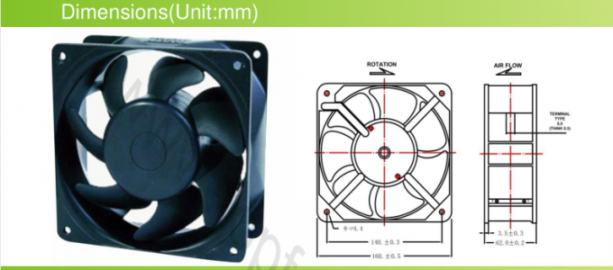 AC 16062 Explosion Proof Exhaust Fan / Metal High Speed  Brushless Cooling Fans