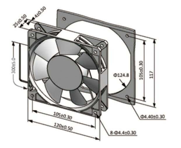 4.7 Inch Fridge Cooling Fan AC to DC  Ventilation Cooling 2500/3500RPM Speed