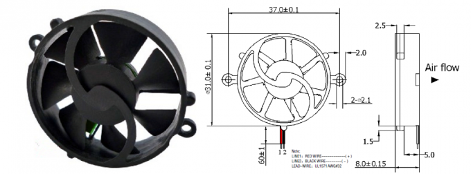 Mini Bracket Round DC Axial Fans 5V 12V Hydraulic Bearing Bearing 6000-110000RPM Speed