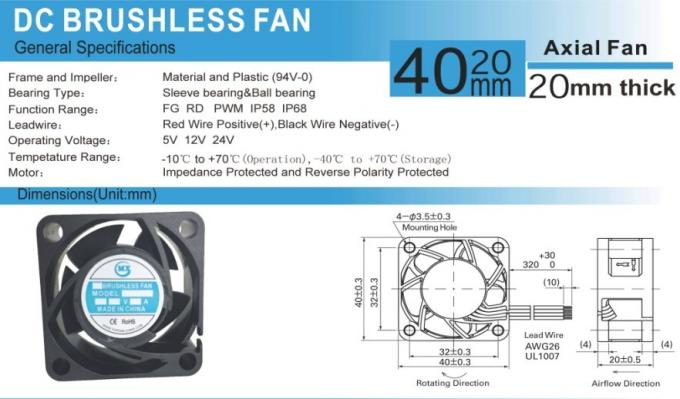 Waterproof Equipment Cooling Fans High Speed 40mm 4020 12v Dc Ventilation Cooler